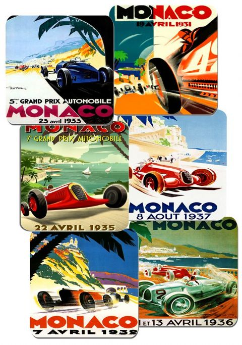 Monaco Grand Prix 1930s Motor Racing Poster Coasters Set Of 6 High Quality Cork